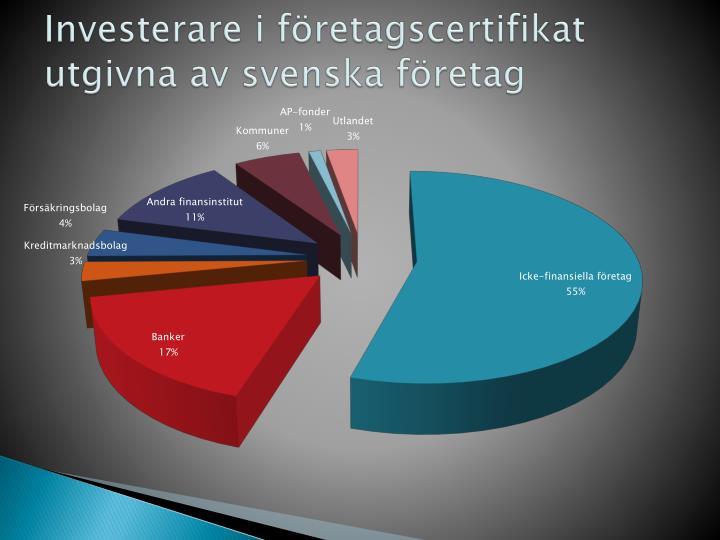 Investerare i företagscertifikat utgivna av svenska företag