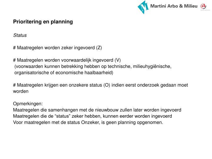 Prioritering en planning