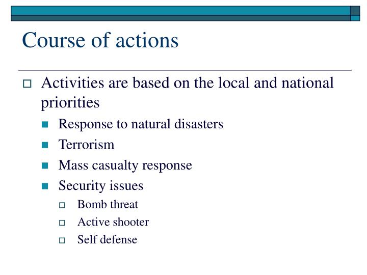 Course of actions