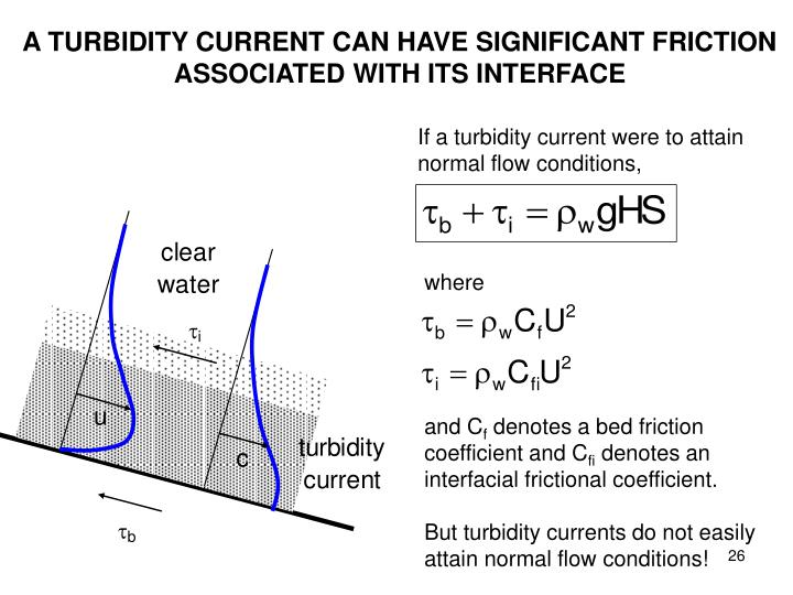 A TURBIDITY CURRENT CAN HAVE SIGNIFICANT FRICTION ASSOCIATED WITH ITS INTERFACE