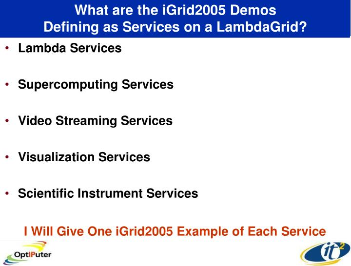 What are the iGrid2005 Demos