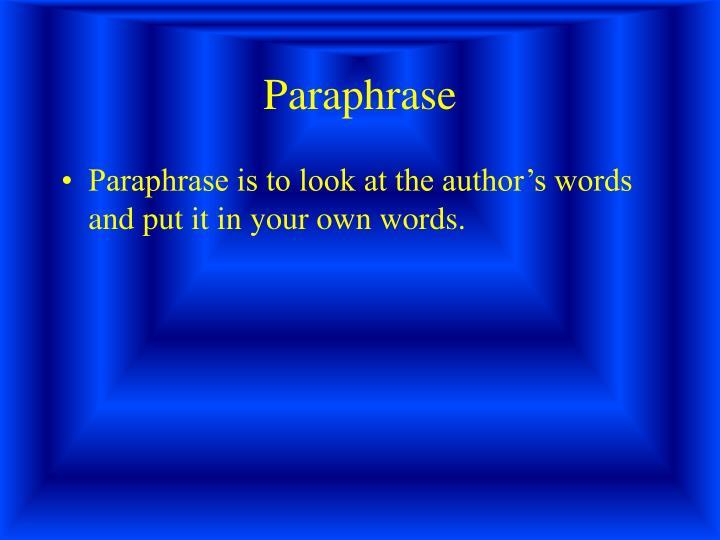 Paraphrase