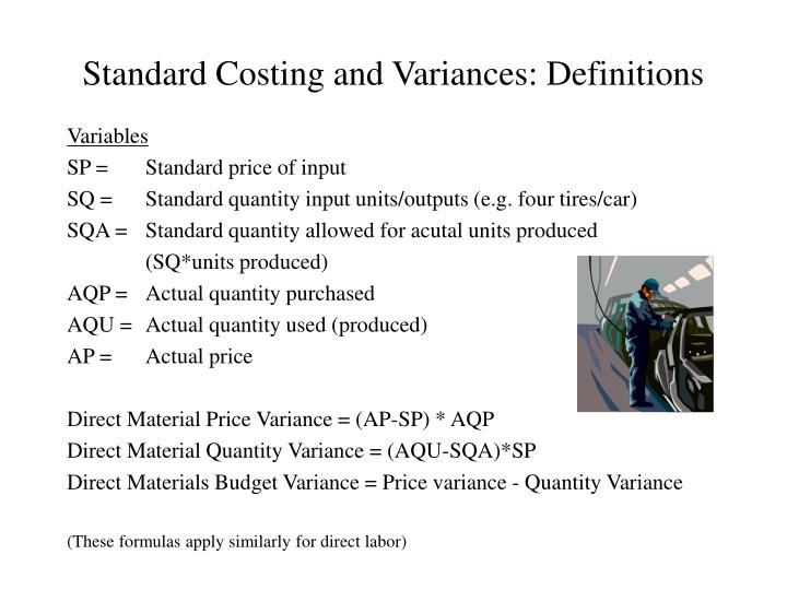 Standard Costing and Variances: Definitions