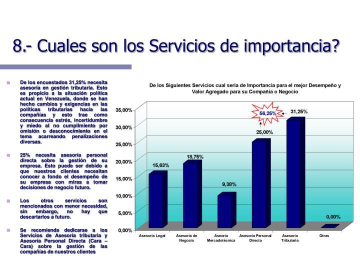 8.- Cuales son los Servicios de importancia?