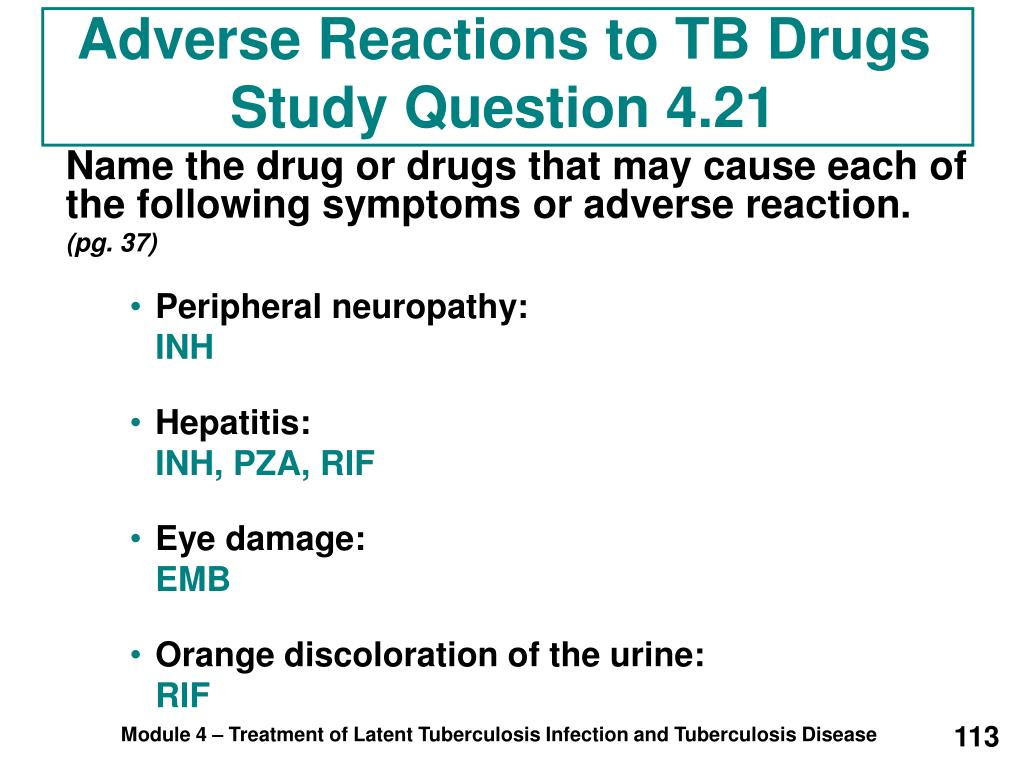 Adverse Reactions to TB Drugs