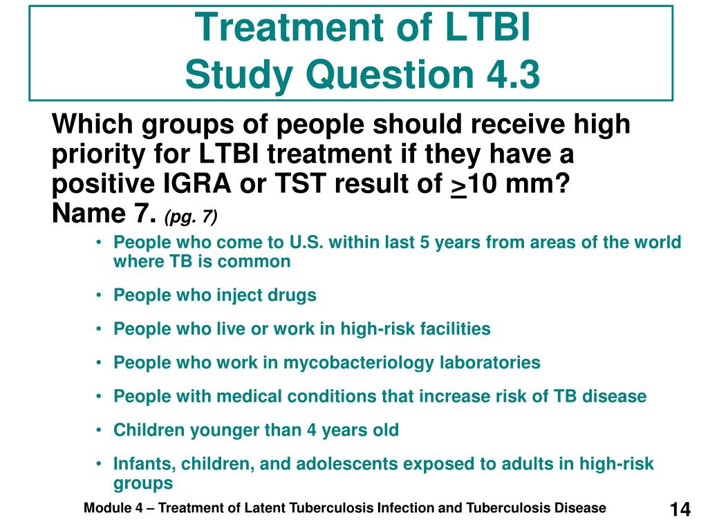 Treatment of LTBI