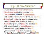 e g 1 to autumn
