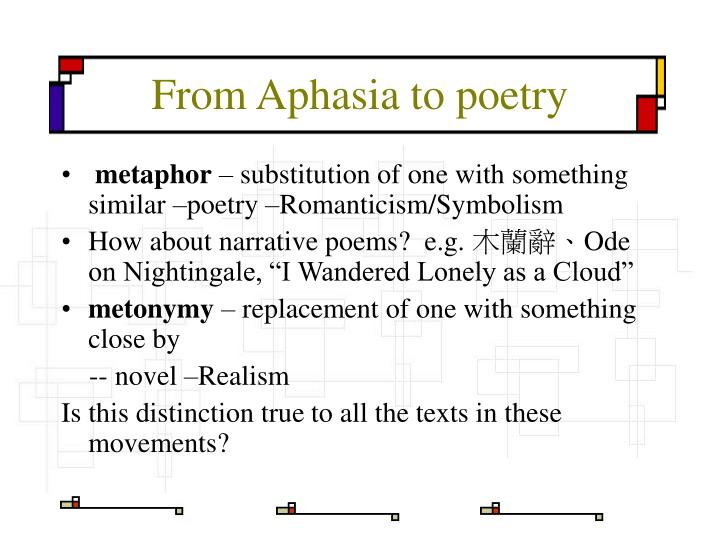From Aphasia to poetry