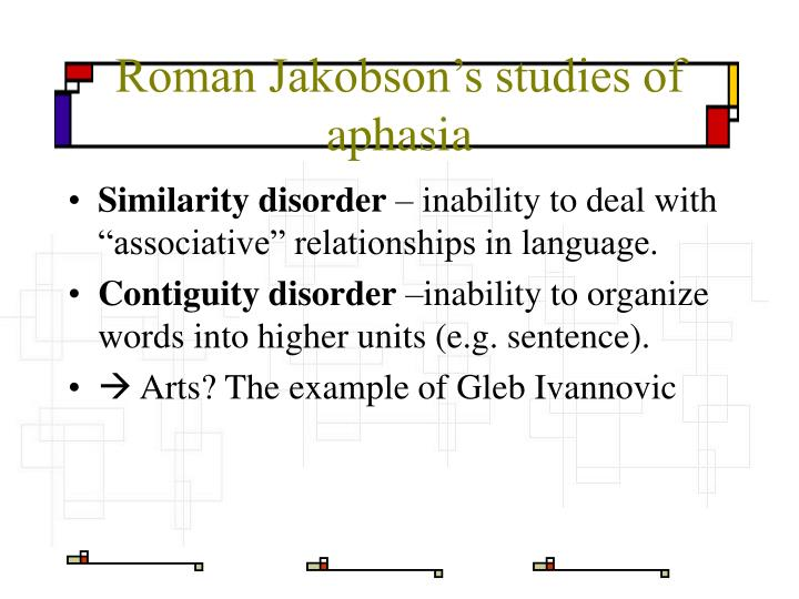 Roman Jakobson's studies of aphasia