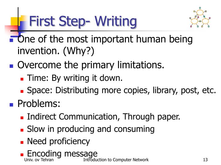 First Step- Writing
