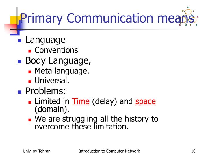 Primary Communication means