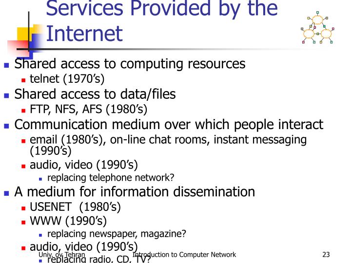 Services Provided by the Internet