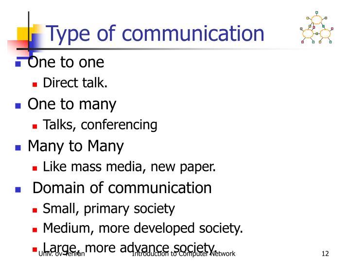 Type of communication