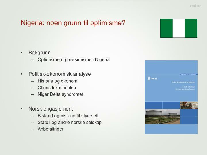 Nigeria: noen grunn til optimisme?