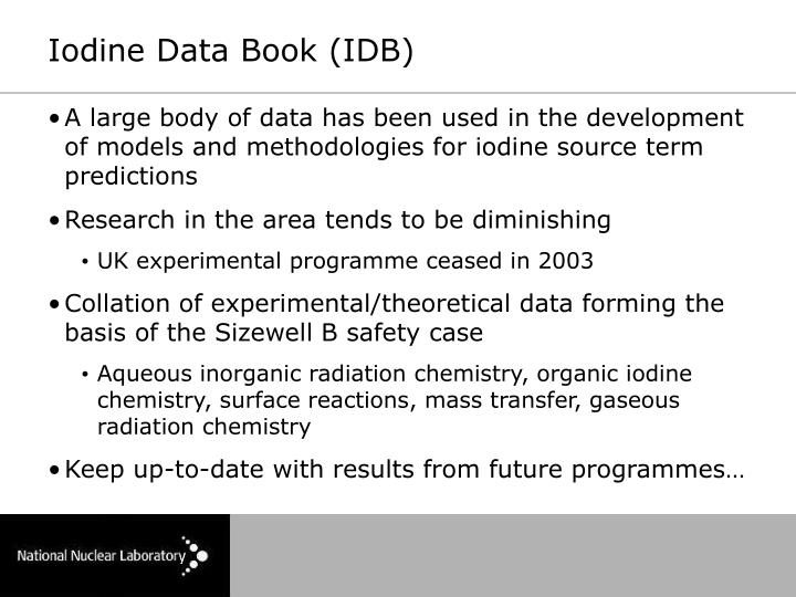 Iodine Data Book (IDB)