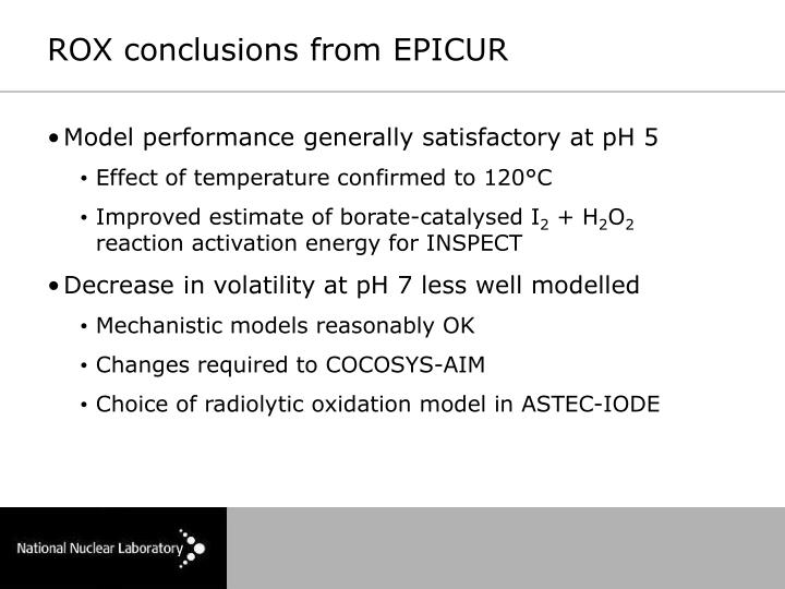 ROX conclusions from EPICUR