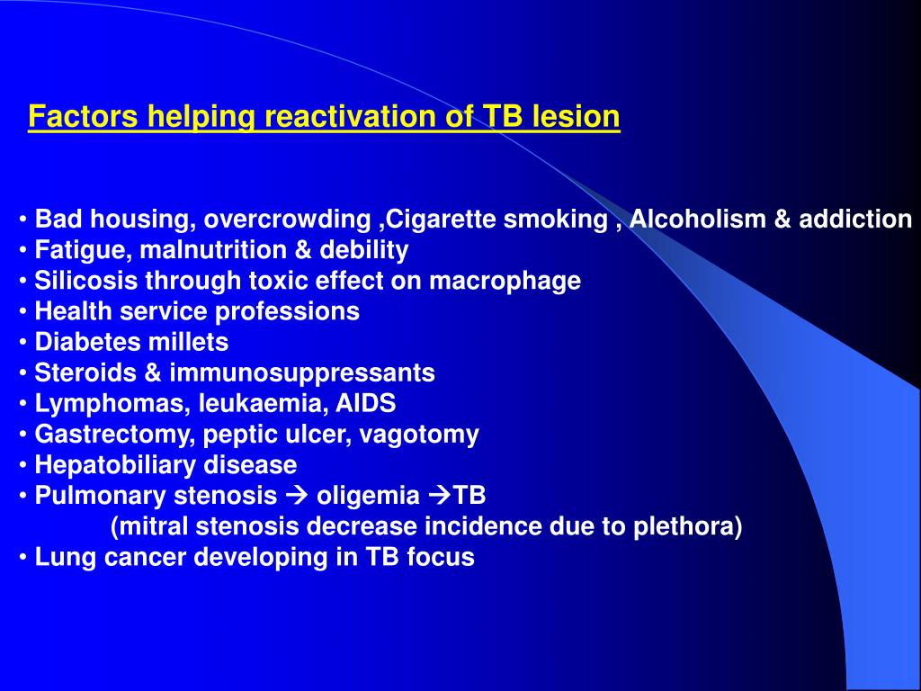 Factors helping reactivation of TB lesion