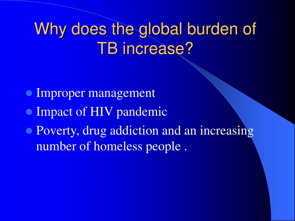 Why does the global burden of TB increase?