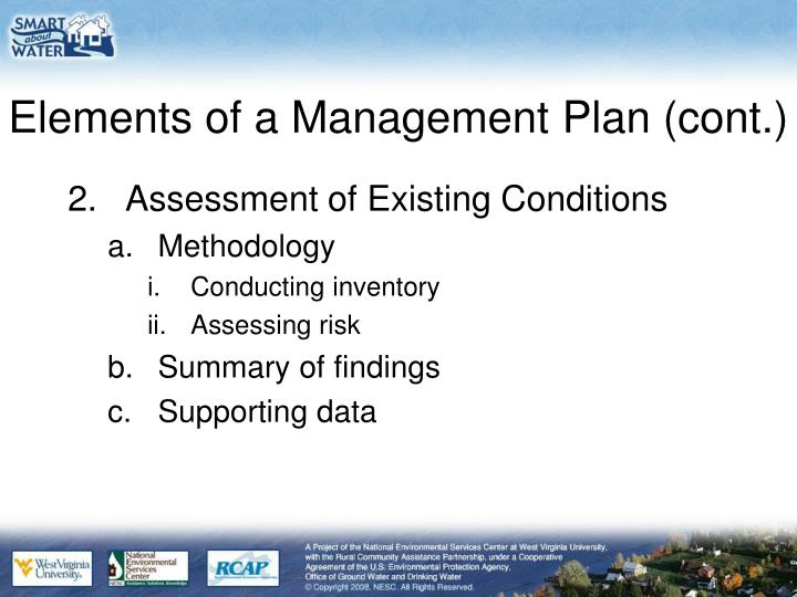Elements of a Management Plan (cont.)