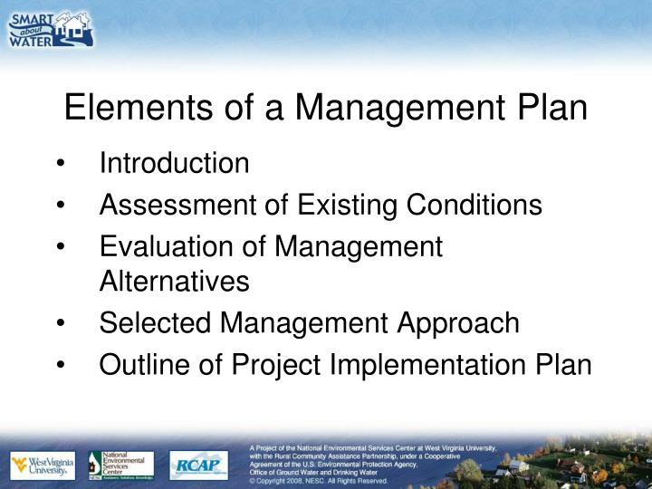 Elements of a Management Plan