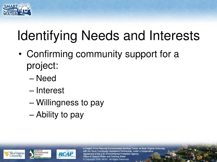 Identifying Needs and Interests