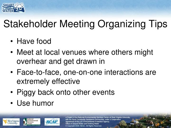 Stakeholder Meeting Organizing Tips