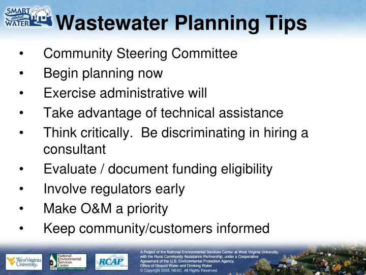 Wastewater Planning Tips