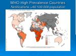 who high prevalence countries notifications 40 100 000 population
