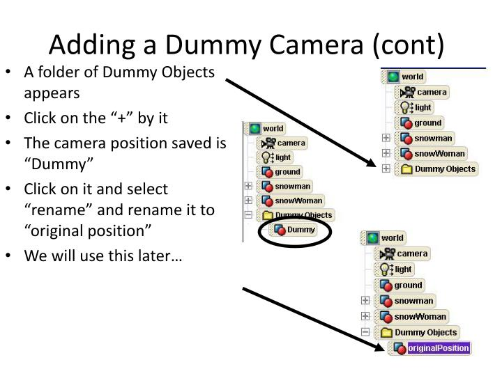 Adding a Dummy Camera (cont)