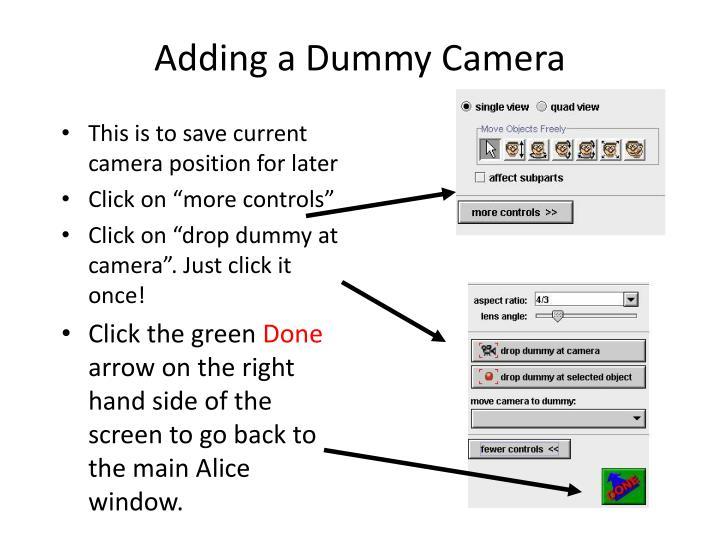 Adding a Dummy Camera