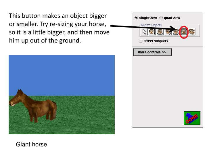 This button makes an object bigger or smaller. Try re-sizing your horse, so it is a little bigger, and then move him up out of the ground.