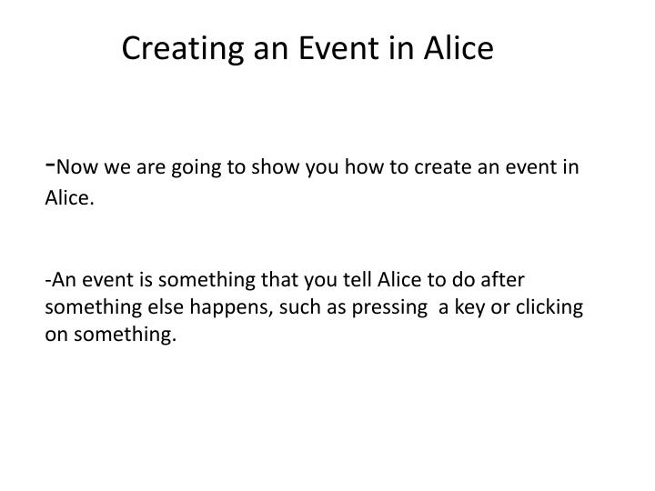 Creating an Event in Alice