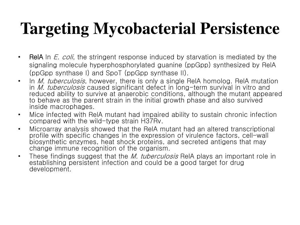 Targeting Mycobacterial Persistence