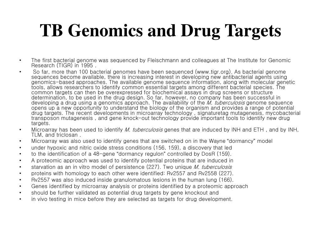 TB Genomics and Drug Targets