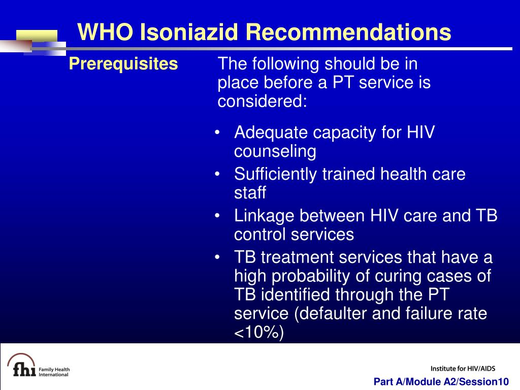 WHO Isoniazid Recommendations