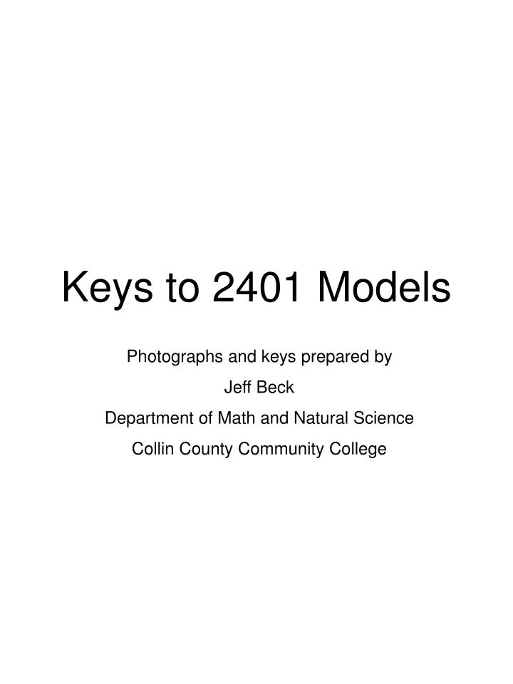 Keys to 2401 models