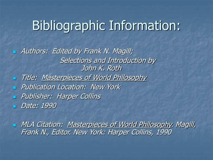 Bibliographic Information: