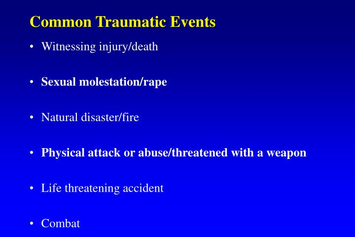 Common Traumatic Events