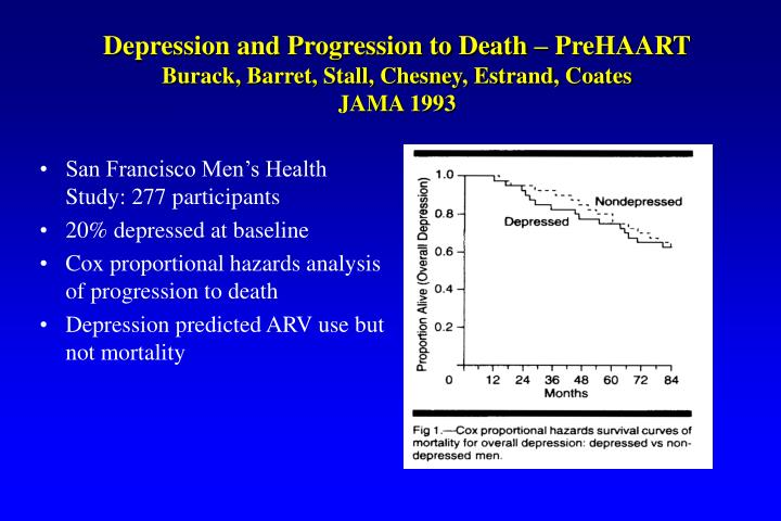 Depression and Progression to Death – PreHAART