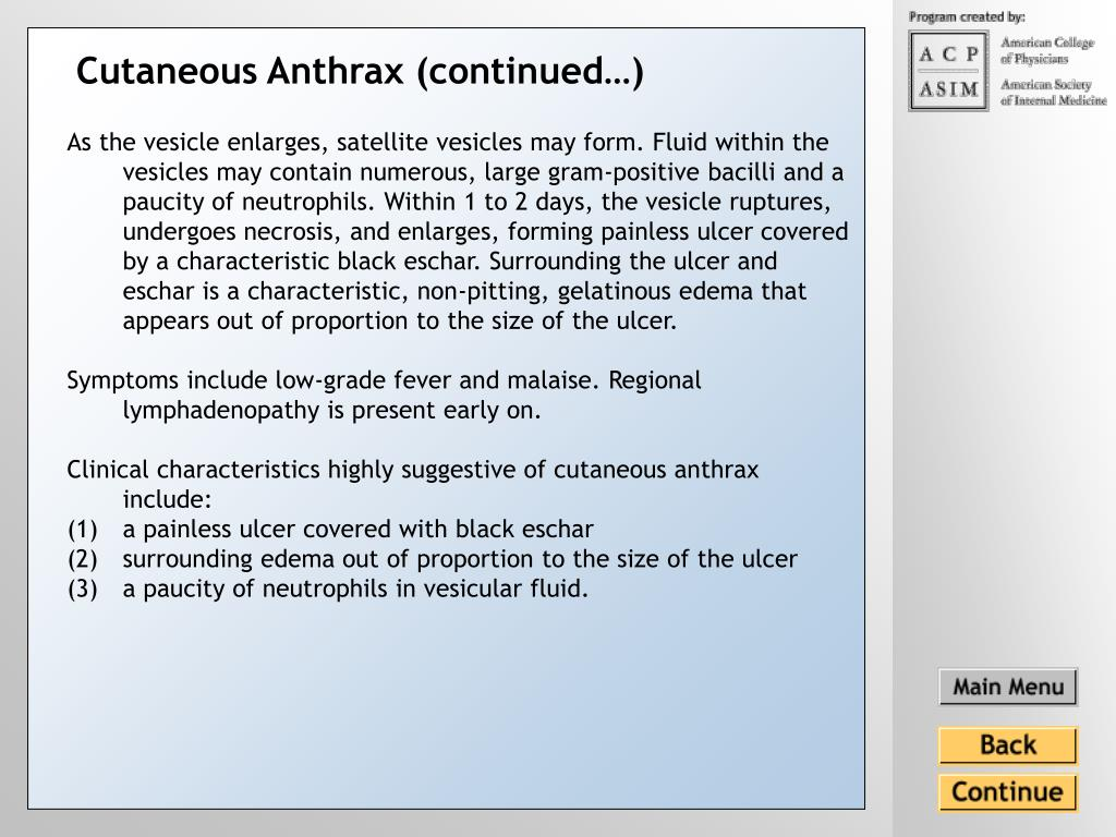 Cutaneous Anthrax (continued…)