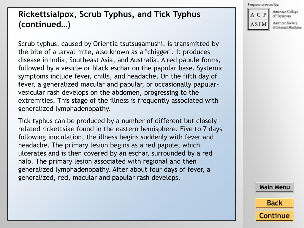 Rickettsialpox, Scrub Typhus, and Tick Typhus