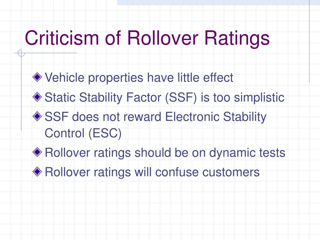 Criticism of Rollover Ratings
