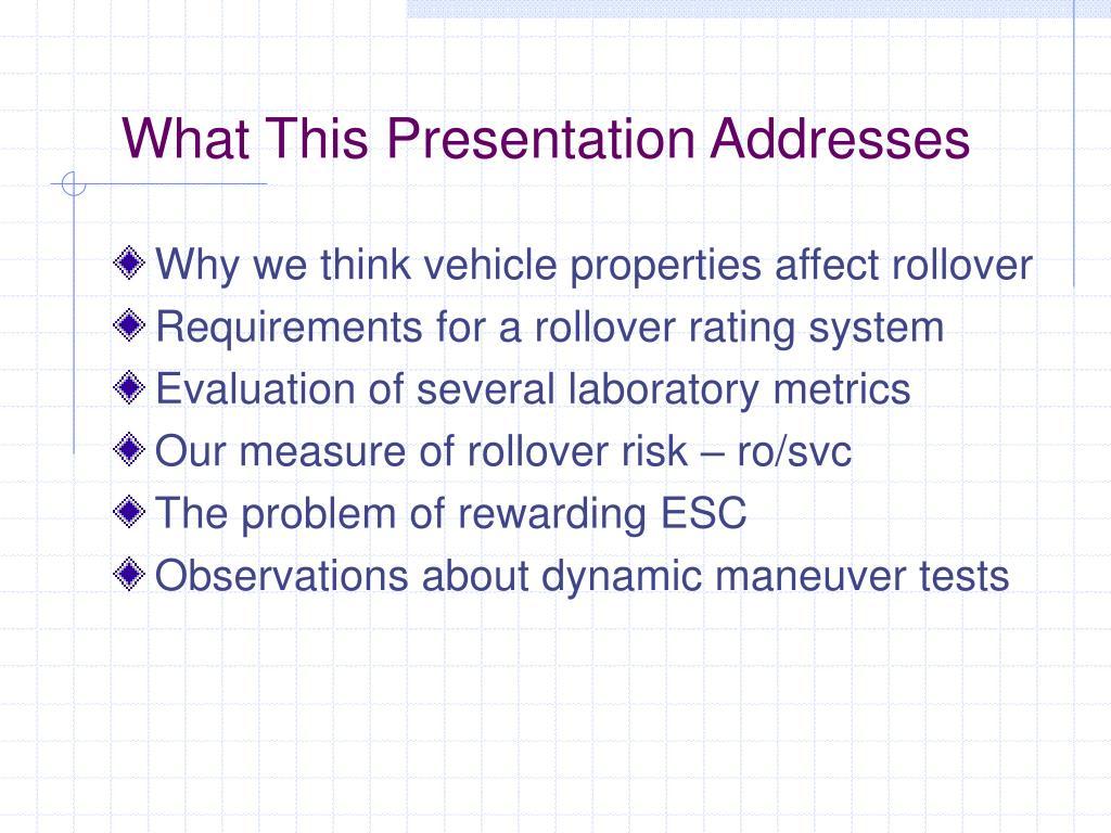 What This Presentation Addresses