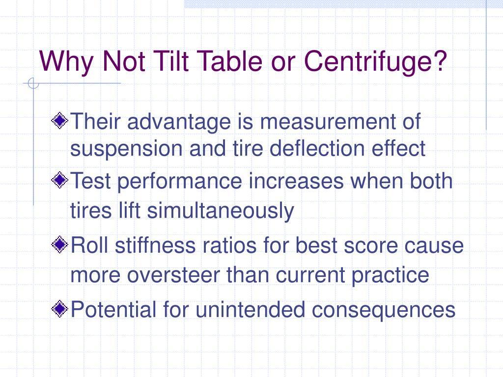 Why Not Tilt Table or Centrifuge?