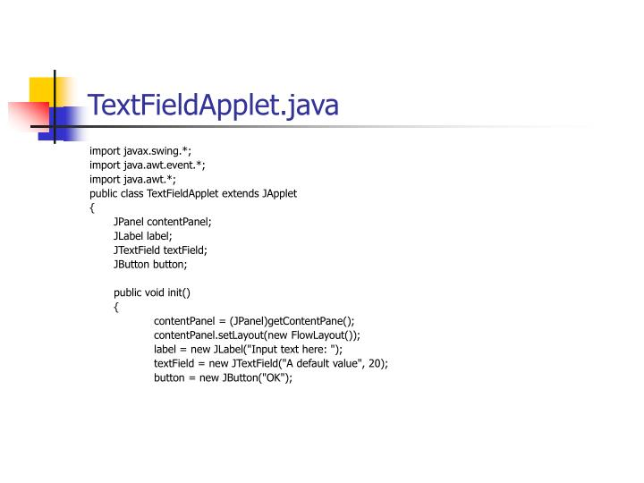 TextFieldApplet.java