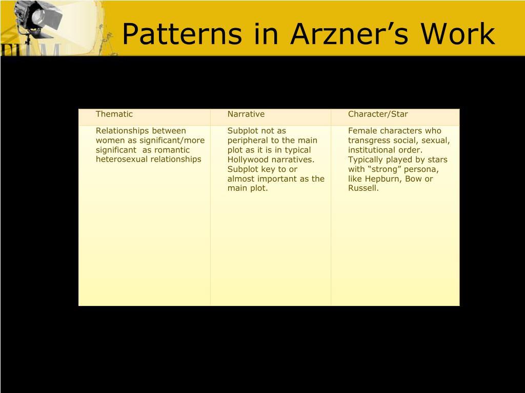 Patterns in Arzner's Work