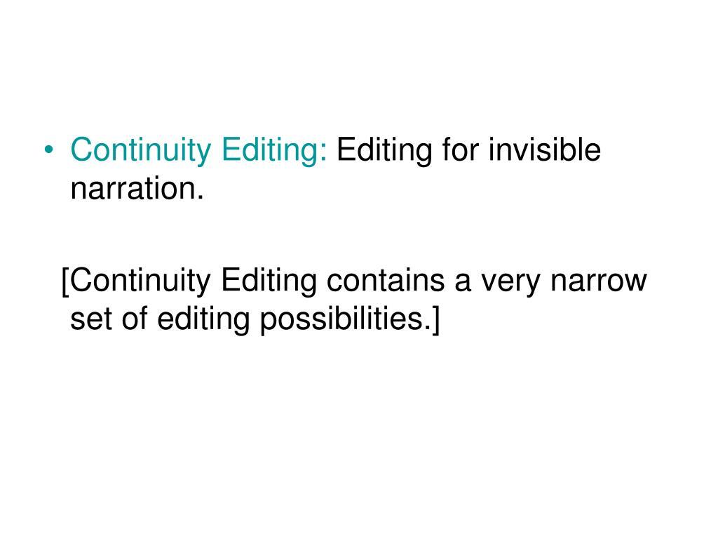 Continuity Editing: