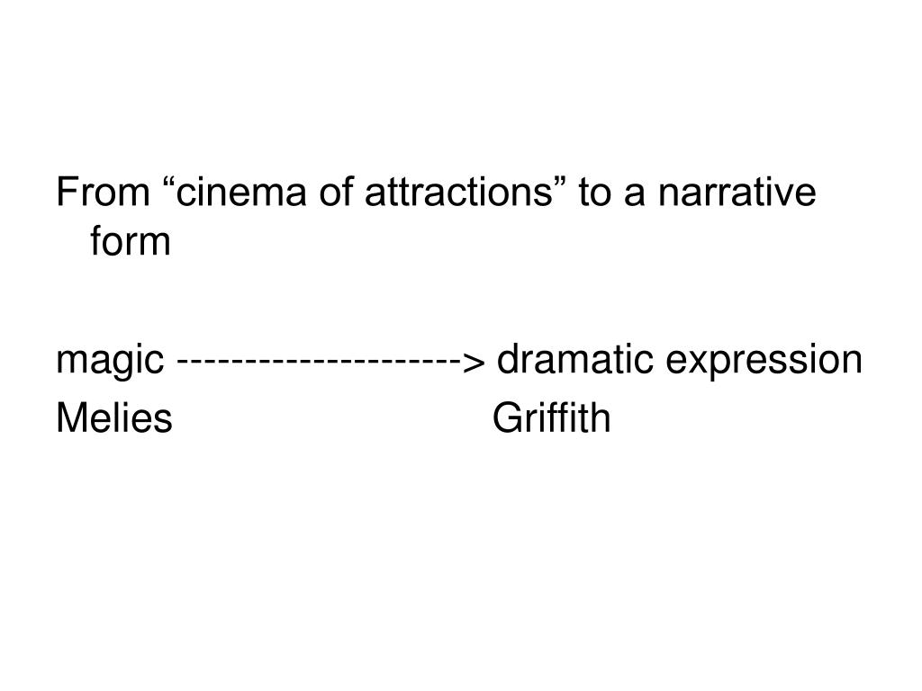 """From """"cinema of attractions"""" to a narrative form"""