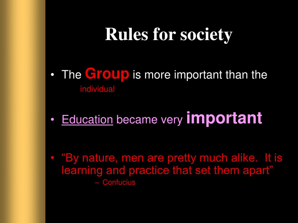 Rules for society