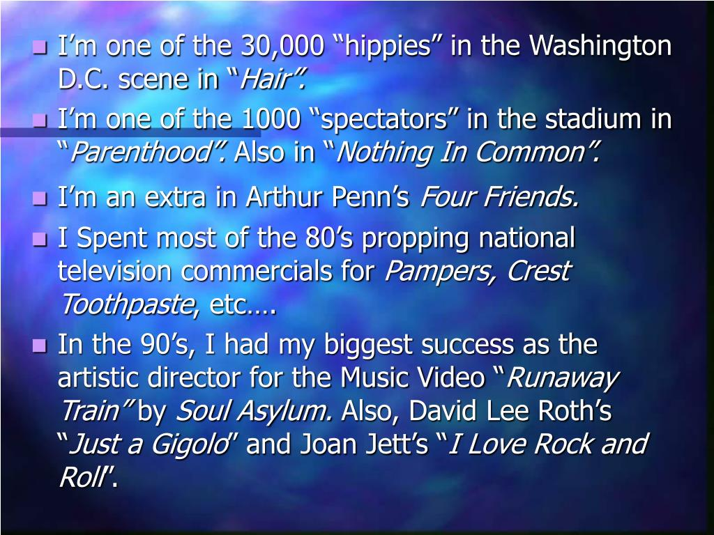 "I'm one of the 30,000 ""hippies"" in the Washington D.C. scene in """